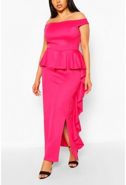 Magenta Plus Off The Shoulder Peplum Maxi Dress