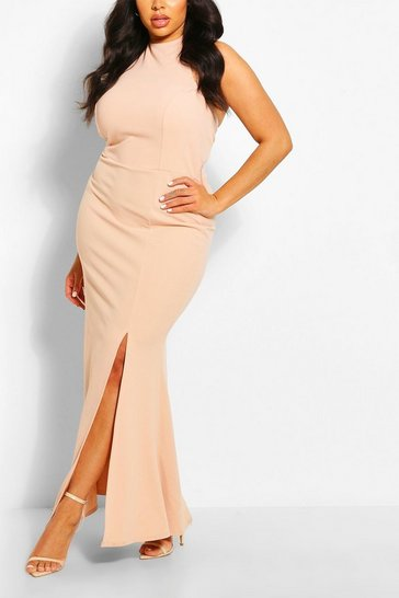 Blush Plus Halterneck Thigh High Split Maxi Dress