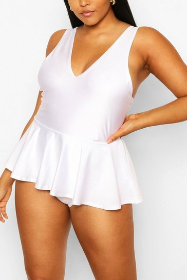 White Plus Peplum Plunge Swimsuit
