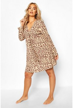 Brown Plus Leopard Print Long Sleeve Beach Dress
