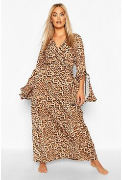 Brown Plus Glam Animal Frill Beach Kimono