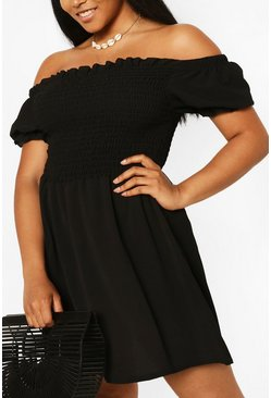 Black Plus Shirred Off The Shoulder Beach Dress