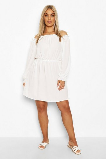 Ivory Plus Bardot Woven Shift Dress