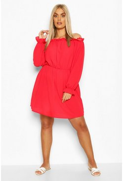 Red Plus Off The Shoulder Woven Shift Dress