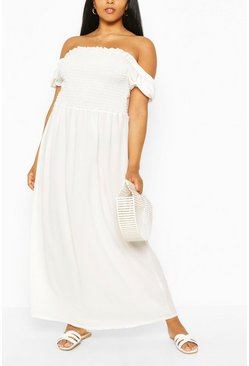 White Plus Shirred Off The Shoulder Beach Maxi Dress