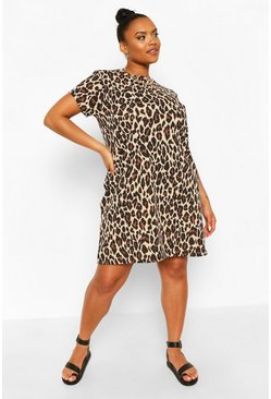 Brown Plus Leopard Print Shift Dress