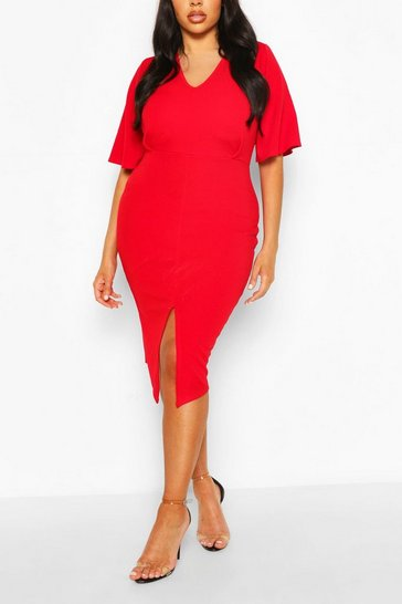 Red Plus Kimono Sleeve Wiggle Midi Dress