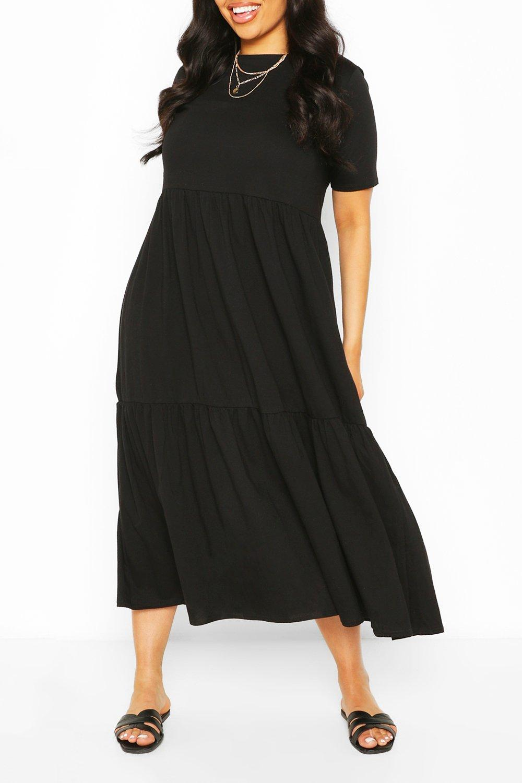 Plus Tiered Cotton Smock Midi Dress 3