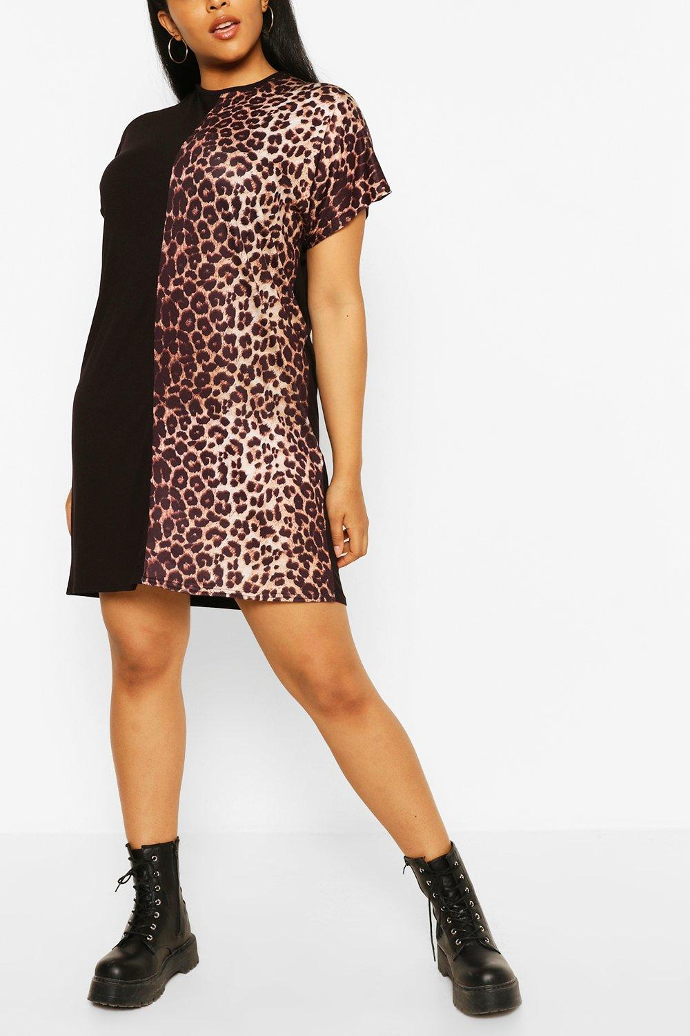 Plus Leopard Panel Longsleeve T-Shirt Dress 4