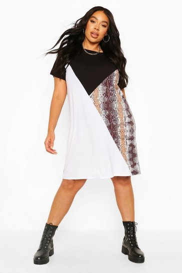 Black Plus Colour Block Snake T-Shirt Dress