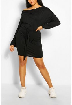 Black Plus Soft Rib Slash Neck Mini Dress