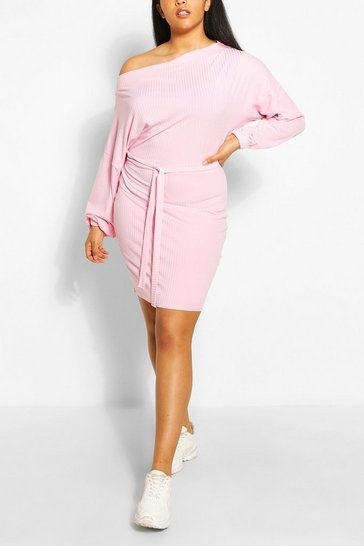 Pale pink Plus Soft Rib Slash Neck Mini Dress