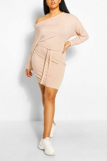 Stone Plus Soft Rib Slash Neck Mini Dress