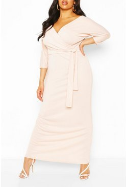Blush Plus Wrap Bodice Maxi Dress