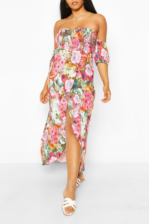 Plus Shirred Bardot Wrap Maxi Dress 6