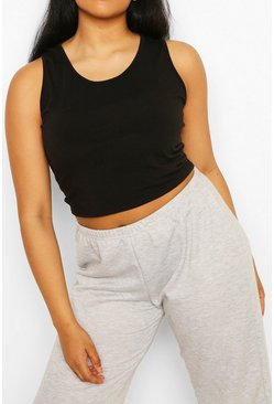 Black Plus Recycled Basic Racer Crop Top