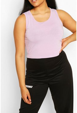 Lilac Plus Recycled Basic Racer Crop Top