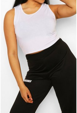White Plus Recycled Basic Racer Crop Top