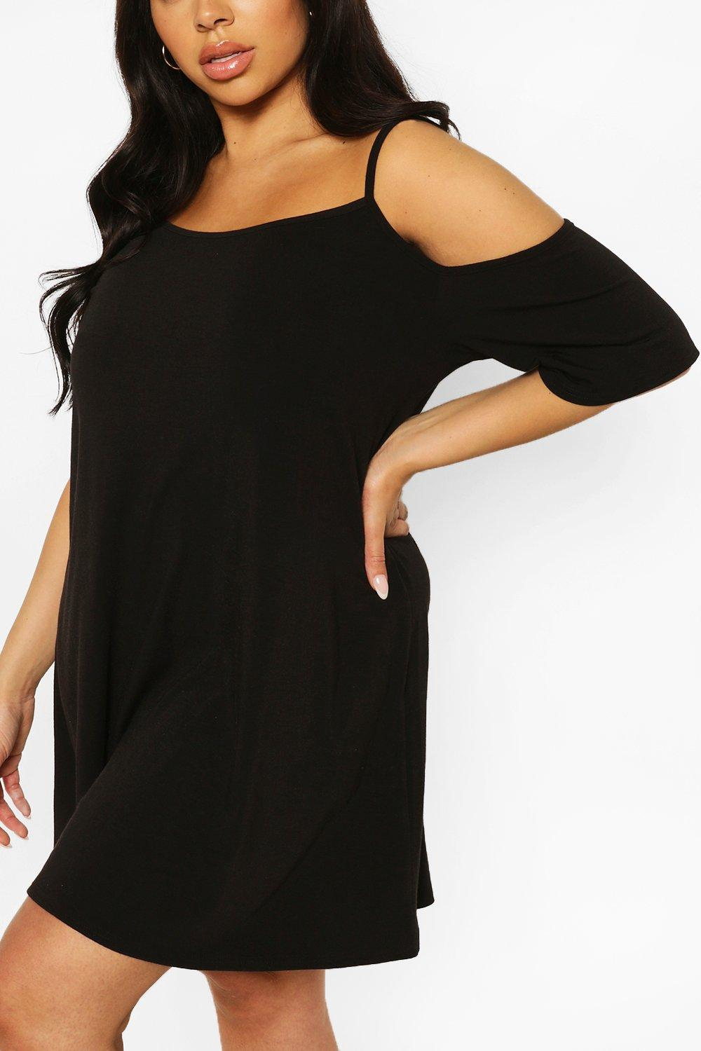 Plus Recycled Cold Shoulder Strappy Dress 8