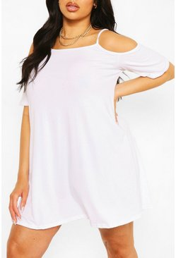White Plus Recycled Cold Shoulder Strappy Dress