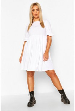 White Plus Recycled Basic Smock Dress