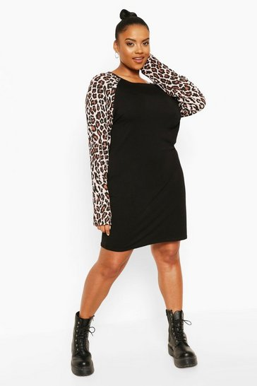 Black Plus Leopard Contrast Shift Dress