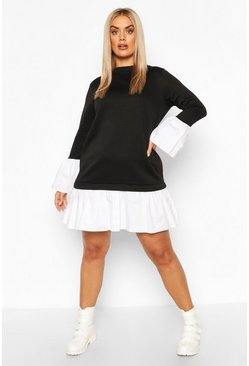 Black Plus 2 In 1 Contrast Sweat Smock Dress