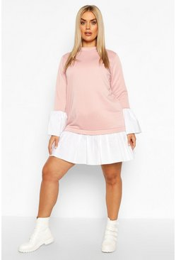 Plus - Robe babydoll sweat 2-en-1 contrasté, Blush