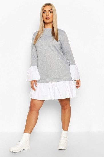 Grey Plus 2 In 1 Contrast Sweat Smock Dress