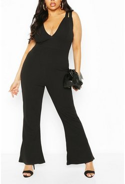 Black Plus Double Strap Plunge Jumpsuit