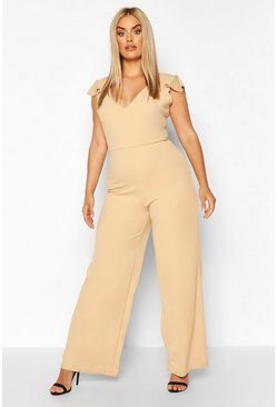 Stone Plus Ruffle Detail Jumpsuit