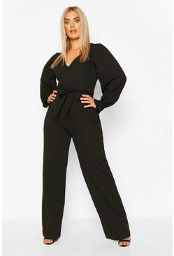 Black Plus Long Puff Sleeve Belted Jumpsuit