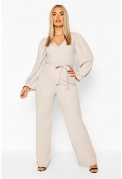 Grey Plus Long Puff Sleeve Belted Jumpsuit
