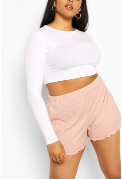 Blush Plus Rib Lettuce Hem Short