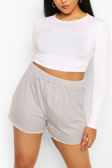 Grey marl Plus Rib Lettuce Hem Short
