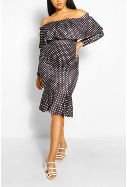 Black Plus Off The Shoulder Polka Dot Midi Dress