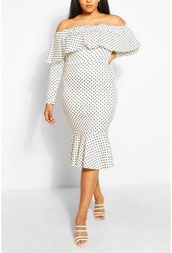 Ivory Plus Off The Shoulder Polka Dot Midi Dress