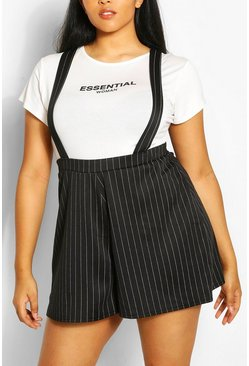 Black Plus Pinstripe Pinafore Short