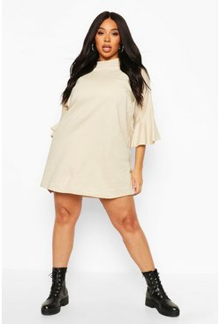 Stone Plus Cotton Ruffle Sleeve T-Shirt Dress