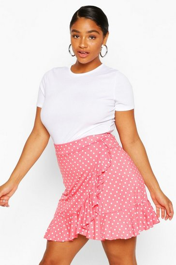 Coral Plus Polka Dot Ruffle Wrap Mini Skirt
