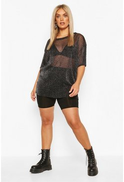 Black Plus Oversized Glitter Mesh T-Shirt