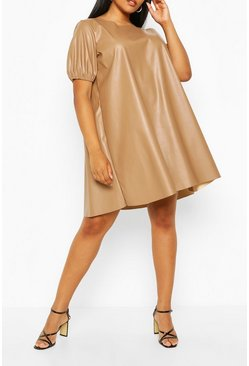 Tan Plus Puff Sleeve Faux Leather Dress