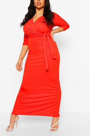 Red Plus Wrap Short Sleeve Maxi Dress