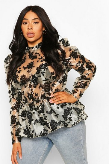 Blush Plus Organza Flock Floral Peplum Top
