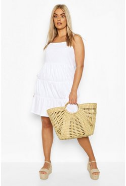 White Plus Tiered Shift Dress