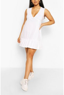 White Plus V Neck Ruffle Hem Shift Dress