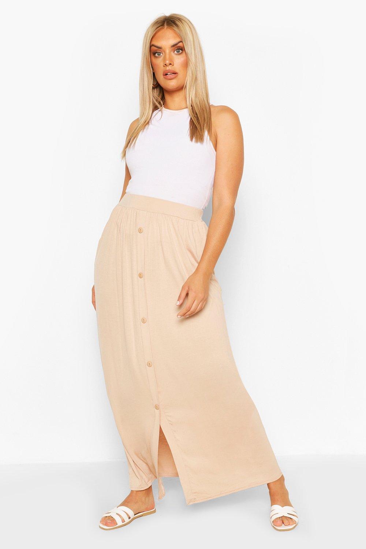 Plus Button Through Maxi skirt 4