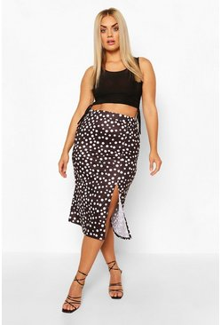 Black Plus Split Polka Dot Midi Skirt