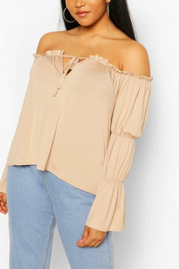 Stone Plus Bardot Off Shoulder Tunic Top