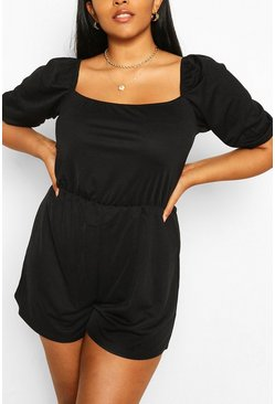 Black Plus Puff Sleeve Playsuit